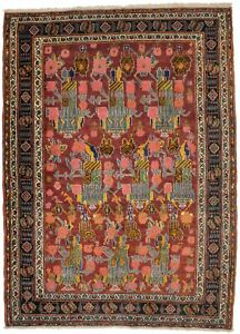 Semi Antique Floral Maroon Red 4'6X6'3 Oriental Rug Handmade Foyer Size Carpet