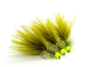 3 x Olive Damsel Marabou UV Fritz Trout Fly Lure Yellow Hot Head Size 12