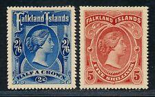 FALKLAND ISLANDS 1898 2/6 & 5/ VALUES MNH FULL GUM.REPRINTS OR FORGERIES.  A347