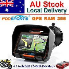 "4.3"" Bluetooth Motorcycle Motorbike GPS NAV Navigator FM Radio Music Free AU Map"