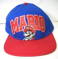 Nintendo Super Mario Snapback Baseball Hat Cap Mario Logo Blue Red Retro Used