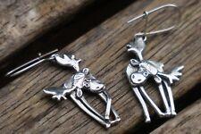 Sterling Silver Moose Earrings, Silver Dangle Earrings, Moose Earrings, Handmade