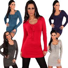 Damen Strickkleid Kleid Pullover Pulli Sweater S 34 36 38 Neckträger warm sexy