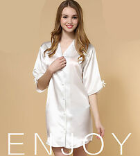 Women White Silky feel Nighties Sleepwear Sleep Kimono Dress Lingerie