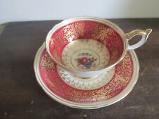 Aynsley England Tea Cup And Saucer Flowers Rose Burgundy Red Gold