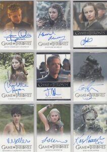 2017 Game of Thrones Season 6 Autograph Auto Card Selection