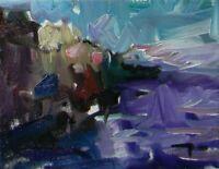 JOSE TRUJILLO - OIL PAINTING 8X10 Impressionism ROCKS SEA ORIGINAL CANVAS 004
