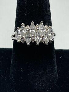 Vintage Diamonique DQCZ Sterling Silver Multi Marquise CZ Ring Size 8.5 - 9