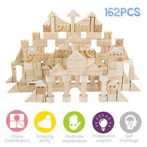 Wooden Building Blocks Bricks DIY Intellectual Educational Toy Kid Xmas Gift AU