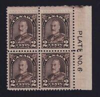 Canada Sc #166b (1931) 2c dark brown King George V Arch Plate Block Mint VF H