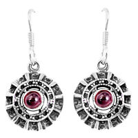 1.88cts Natural Red Garnet 925 Sterling Silver Dangle Earrings Jewelry P16481