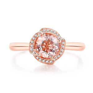 Wedding Jewelry Morganite Round 6.5mm Natural Diamonds Solid 18K Rose Gold Ring