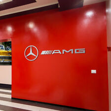 Mercedes AMG and Star Logo Letters Sign Garage Brushed Silver Aluminum Gift 8 FT