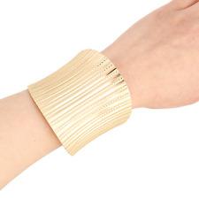 Simple Fashion Punk Jewelry Women Gold Suture Lines Cuff Wide Bangle Bracelet