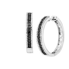 Finecraft Black & White Diamond Hoop Earrings - Sterling Silver