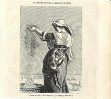 Stampa antica CONTADINA nella campagna di ROMA 1845 Old antique print Rome