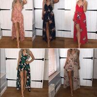 Women Chiffon Floral Playsuit Summer Shorts Jumpsuit Long Maxi Dress Shorts F