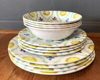 12 Pcs of Laurie Gates Melamine Moroccan Boho Set of 4 Salad Dinner Plates Bowls