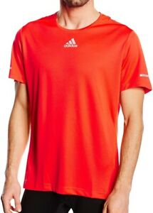 adidas Sequencials ClimaLite Mens Running Top Red Short Sleeve Training T-Shirt