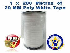 ELECTRIC FENCE TAPE - 1 x 200 Metres 20mm White 200m Poly Fencing Horse Paddock