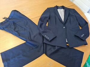 Ladies M&S Trousers Suit Jacket Size 10 and size 10 Trousers Navy Pinstripe