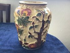 More details for large hand painted h.j.wood indian tree vase # 573 8.5 inches.