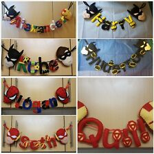 DC/Marvel,Superheroes,Name Bunting, Personalised,Children's, Name Banner,Decor