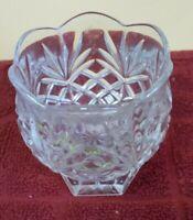 Vintage Glass Cut Crystal Votive Candle Holder Flower Shape Clear