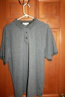 Geoffrey Beene Short Sleeve stripe Ribbed Polo Collared Shirt Gray Men's Size XL