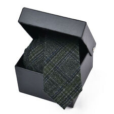 Wool Blend Men's Ties Tweed Plaid Neck Tie Business Wedding Formal Wool Ties 007