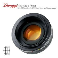 Lens Turbo II adapter for Canon FD mount lens to Sony mount NEX VG10 α6000 a6500