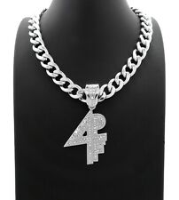 "Hip Hop Iced Lil Baby 4PF Silver PT Pendant & 18"" 20"" 24"" Cuban Chain Necklace"