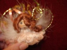 """Vtg  Christmas Ornament Red Hair Angel Wire Wings Wood Bead Face W Lace & Fur 4"""""""