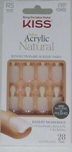 KISS Salon Acrylic Natural Nails Real Short Length Wear Natural Or Polish 67897