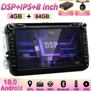 DSP Sat Nav For VW Golf MK5 MK6 Jettat Android 10.0 Car Stereo GPS DAB 4GB+64GB