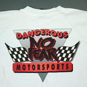 Vtg 90s No Fear Dangerous Motorsports T-Shirt LARGE NOS USA Made Single Stitch