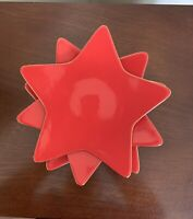 Williams Sonoma Red Holiday Star Gold Trim 3 Appetizer Plates
