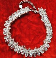 VINTAGE  BEADED CLUSTER STYLE NECKLACE with CLEAR PLASTIC BEADS SILVER TONE
