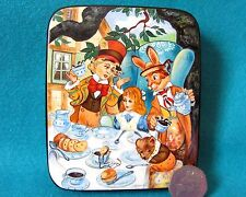 """Russian Lacquer Trinket Box Alice in Wonderland """"A Mad Tea Party Hatter"""" signed"""