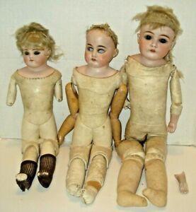 Vintage Bisque Head group of 3 Dolls Kid Bodies Germany Parts Repair as found