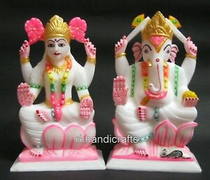 09 Inches Hand Crafted Beautiful Goddess Laxmi God Ganesha Sculptures for Home