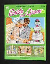 """Bride And Groom"" A Paper Doll Playbook 1981 Golden Uncut Paper Dolls Vintage"