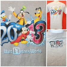"Walt Disney World Park 2013 Gray Tshirt Mickey Pluto Goofy Donald M 19"" Pit2Pit"