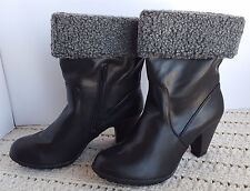 "9/9M Womens Black Fashion Boots MOOTSIE TOOTSIE Zipper Side Faux Fur Top 3"""