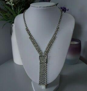 Vintage Retro Statement Silver Tone Clear Plastic Diamantes Tassel Necklace Mod