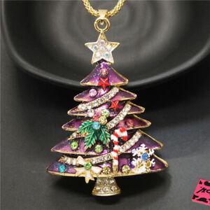 Betsey Johnson Cute Purple Enamel Christmas Tree Crystal Pendant Chain Necklace