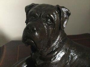 Beautiful Vintage Bronzed Resin Bullmastiff Dog Statue