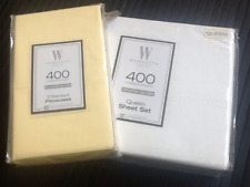 2 Free Pillowcases w/ 4-pc White Queen 400 Tc Cotton Sateen Wamsutta Sheet Set