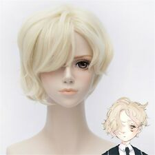 Anime Golden Blond Wigs Heat Resistant Anime Short Fluffy Curly Cosplay Hair Wig