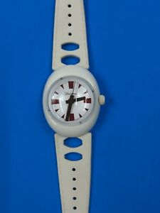 Vintage Lucerne Swiss Made Bubble Glass White Space Age Grilamid Wind Up Watch